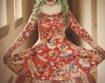 Gloomth Scary Clown Exclusive Print Long Sleeve Skater Dress Sizes XS to 3XL
