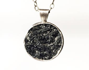 Black Tourmaline Pendant, Raw Stone, rutilated, natural surface, sterling silver, handmade, crystal