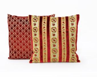 Luxury Red Velvet Pillow 20x20, vintage fabric, designer cushion cover, pillow sham Handmade from cut velvet upholstery fabric by EllaOsix,