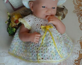 Crochet outfit for 14 inch Baby Doll Berenguer La Newborn Dress Set Pastel Yellow Roses Ribbon