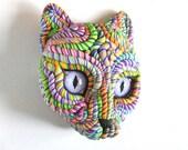 Masque de Sculpture murale originale chat cosmique