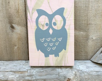 Nursery Sign / Owl / Marbled Wood / Pink Grey Green / Home Decor / Wall Hanging / Wooden Decor / Childs Bedroom / Bird