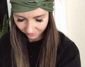 Olive Twist Turban, Bohemian Head Wrap, Women's Boho Turban, Women's Head Wrap, Hippie, Twist Turban Headband, Solid Wrap, Hair Accessories
