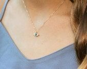 Tiny Evil Eye Necklace, Evil eye Charm Necklace, Unique Gift, CZ & Gold Protection Necklace, Dainty Necklace, Delicate Jewelry, BFF Gifts
