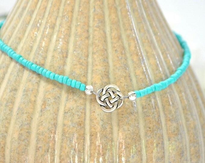 Celtic Anklet Blue Celtic Ankle Bracelet Adjustable Anklet Turquoise Blue Handmade Jewelry Celtic Jewelry