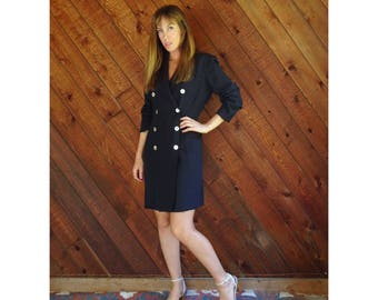 Dark l/s Tuxedo Mini Dress - Vintage 90s - S/M