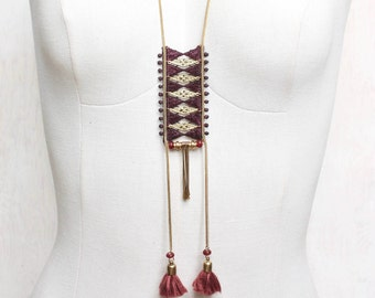 Lace necklace - CACTUS - Black lace and tassel, burgundy lace and tassel or teal lace and mustard tassel