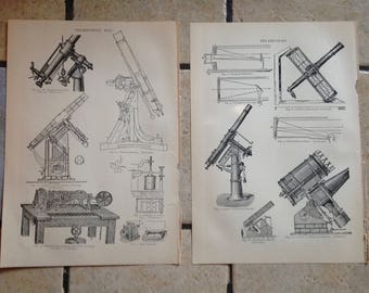 1890 Telescope and Telegraphy Antique Illustrations