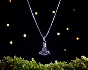 Sterling Silver Dwarven Thor's Hammer, Dwarf Mjölnir - Small, Double Sided - (Charm, Necklace or Earrings)