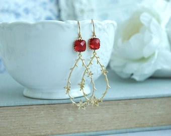 Twig and Flowers Earring Fuchsia Red Gold Floral Earring Wedding Bridal Dangle Jewelry Bridesmaid Gift Gold Floral Boho Wedding Gift for Her