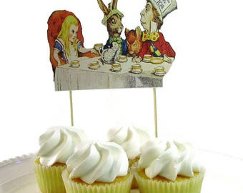 Alice In Wonderland Cake Topper, Vintage Alice in Wonderland Tea Party Centerpiece, Mad Hatter Tea Party Cake Topper, Birthday Cake Topper