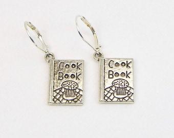 Cook Book Earrings - Cook Earrings - Chef Earrings - Kitchen Gift - Bakers Charm - Dangle Earrings - Gift For Her