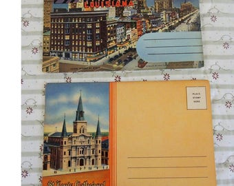 Two Vintage Postcard Folders of New Orleans, Lousiana and St. Louis Cathedral, Linen Postcards, Excellent Condition