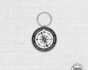 Keychain Follow Your Dreams and Enjoy the Journey Compass Image, Key Chain Key Ring Acrylic