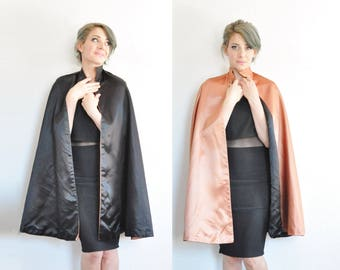 reversible satin cape . black copper gold formal jacket .small.medium.large