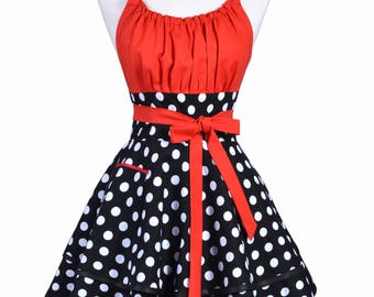 Flirty Chic Retro Apron in Womens Sexy Red Black White Polka Dot Pinup Rockabilly Apron with Personalized Monogram Option and Color Choices