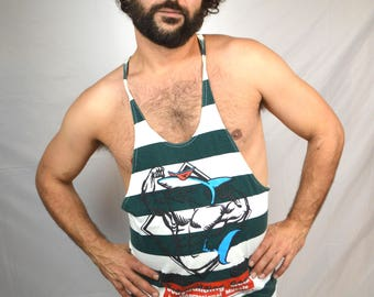 Vintage 80s Striped Shark Gym Muscle Tank Top - International Muscle USA