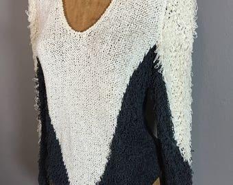 1990s Shaggy Fringe Triangle Saw Wave Sweater Boho Loomed Geometric Neutral Tones S M