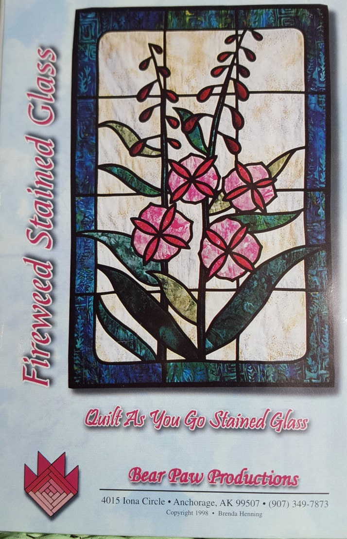 Stain glass quilt pattern kit for Window pane quilt design