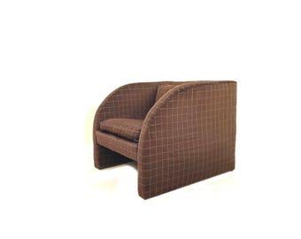 Vintage Modern Lounge Chair In Geometric Brown Velvet