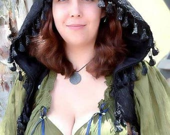 """PREORDER: The Hooded Tassel Vest in Black """"Diamonds"""" by Opal Moon Designs (Size S or Pre-Order other sizes)"""