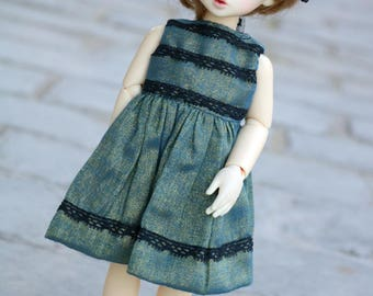 Blue/Green Dress with Black Lace for YoSD sized BJDs
