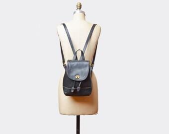 Vintage 90s Coach LEATHER BACKPACK / 1990s Black Daypack School Bag PURSE