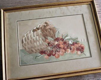 Antique Framed Society Silk Embroidery Basket of Cherries