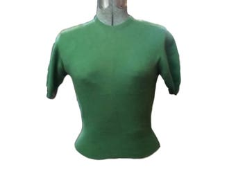 Vintage Sweater Jantzen KharaFleece Short Sleeve Sweater Made in USA Olive Green 50's Mid Century Fashion Sexy Pullover Size 34