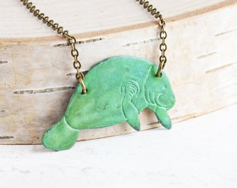 Verdigris Green Patina Manatee Necklace on Antiqued Brass Chain (Hand Patina)