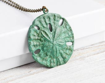 Large Green Patina Sand Dollar Pendant Necklace on Antiqued Brass Chain