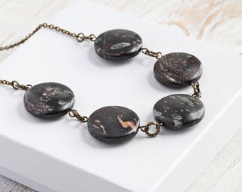 Black Oolitic Jasper Stone Coin Bead Necklace on Antiqued Brass Chain