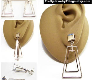 Avon Triangle Double Hoop Pierced Post Stud Earrings Silver Tone Vintage Spinning Flat Band Trapezoid Open Rings Square Top Button