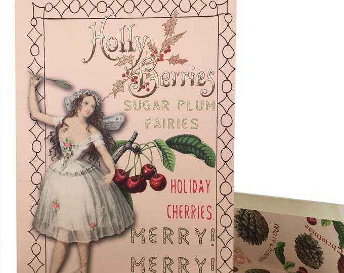 Christmas no longer available! Don't miss the Spring Collection coming soon! Pink Fairy Christmas Card Vintage Design Peppermint Scented