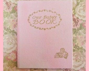 1930's Baby Book, Pink Cover, Juanita Carter Bennett Illustrations
