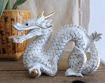 Vintage Gold And White Porcelain Dragon Statue Figurine