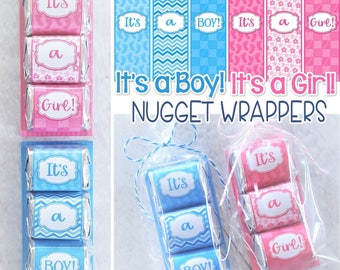It's a Girl & It's a Boy SHOWER FAVORS, Baby Nugget Wrappers, Gender Reveal Idea, Baby Girl Baby Boy PRINTABLES - Instant Download