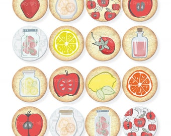 Delicious Summer 1 inch Digital Collage Sheet. Round fruits for planners, magnets, cards, bottle caps. Apple, lemon, orange, strawberry