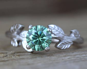 Leaf Engagement Ring, Green Moissanite Engagement Ring, Antique Engagement Ring, Vintage Leaf Ring, White Gold ,Moissanite, Elvish ring