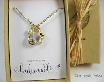 Will you be my Bridesmaid, Clear Crystal Glass Teardrop Necklace in Gold or Silver, Personalized Bridesmaid Gift, Bridesmaid Proposal