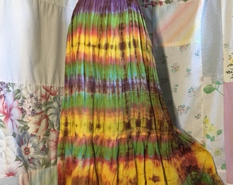SMALL/MEDIUM, Dress Bohemian Hippie Indie Boho FlowerChild Colorful Lightweight Long Tie Dyed Dress with Spaghetti Straps