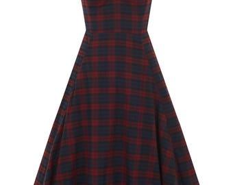 Brand New Vintage Style Tartan Swing Dress Pin Up Rockabilly