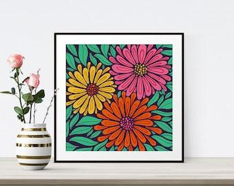 Flower Poster, Floral Decor, Art Print, Flower Wall Art, Botanical Poster, Flower Illustration, Colourful Art, Modern Art, Large Square Art