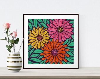 Triple Floral Retro Illustration Giclee Print Wall Art