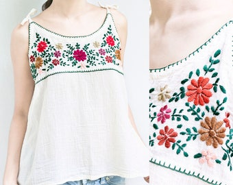 Boho Cami Top, Floral Hand Embroidered Camisole Top, Loose Fit Summer Cotton Tank Top with Spaghetti Straps, Festival Top in Off White