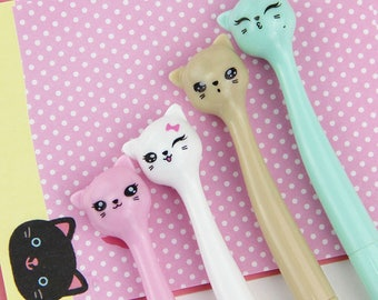 Cat Ink Gel Pastel Pen, Ink color Black, 0.5mm, Kawaii Stationary, Planner Accessories, Kawaii Pens, Stationery, Gel Pens, Planner Goodies