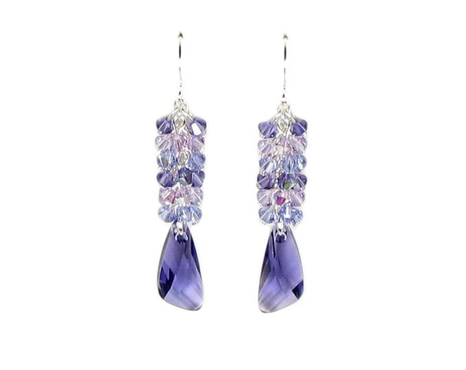 Purple Tanzanite Butterfly Wing Long Silver Drop Earrings With Cascading Cluster of Swarovski Crystals Women's Summer Outdoors Fairy Jewelry