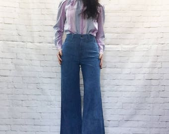 Vintage 70s h.i.s. High Waist Bell-Bottom Jeans Side Straps XS S Flared Denim Sailor Pants
