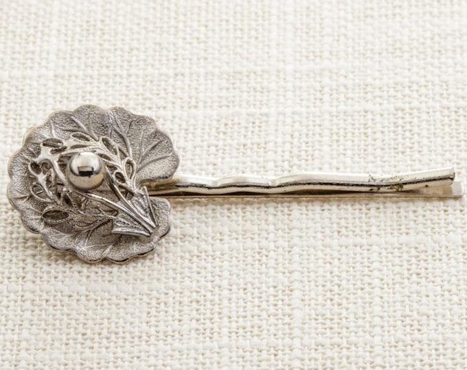 Silver Filigree Leaf Hair Clip Embellished Bobby Pin Handmade in USA Hair Pins 16V