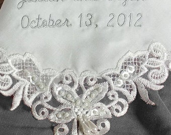 Name and Date Hanky for Happy Tears for the Bride on Her Wedding Day | Wedding Handkerchief Personalized Bridal Hanky by Li'l Inspirations